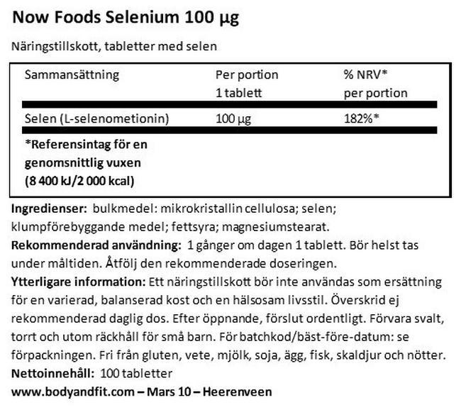 Selenium Nutritional Information 1