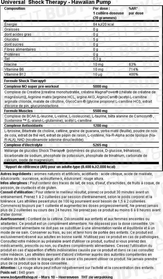 Complément alimentaire Shock Therapy Nutritional Information 1