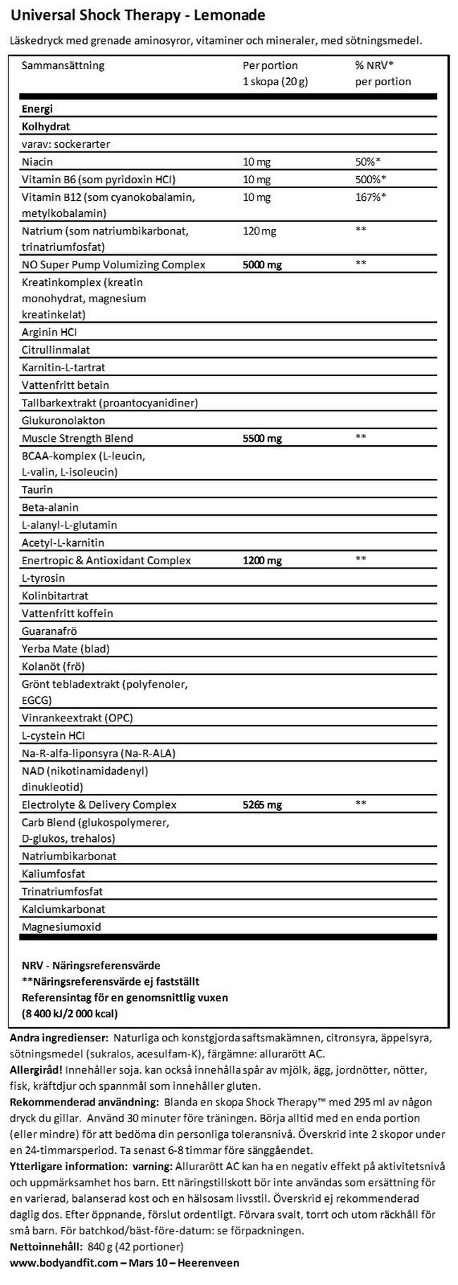 Shock Therapy Nutritional Information 1