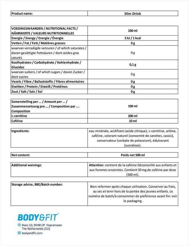 Boisson Slim Drink Nutritional Information 1