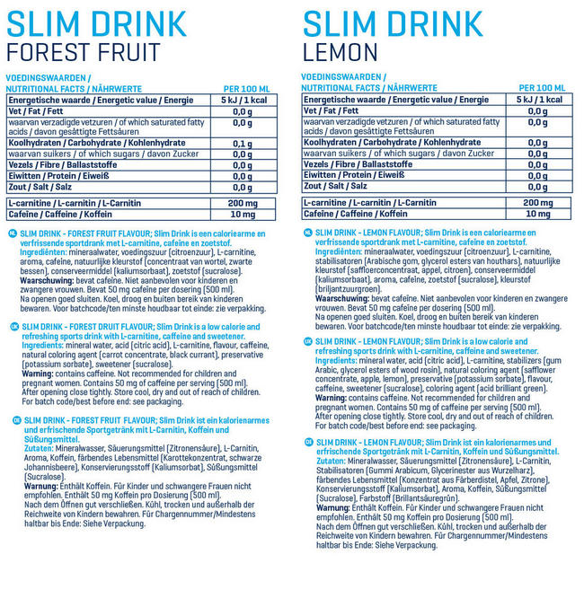 Slim Drink Nutritional Information 1