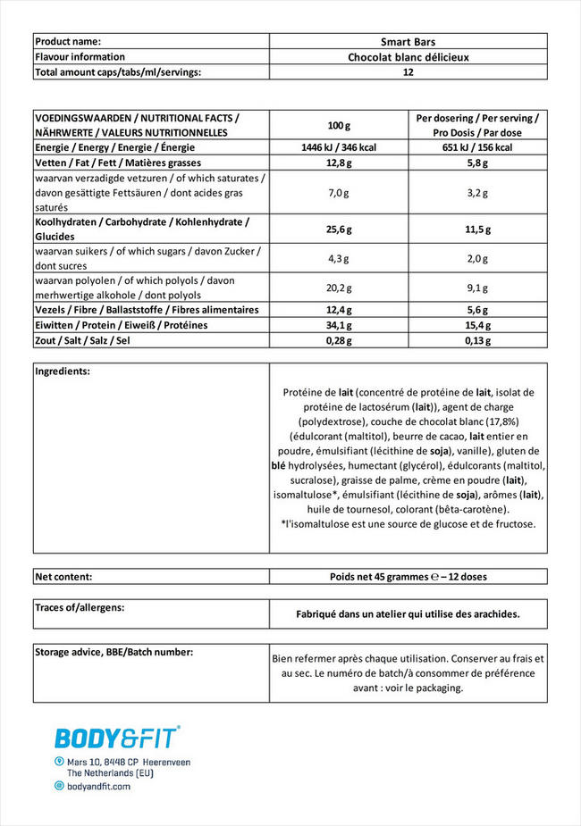 Smart Bars Nutritional Information 1