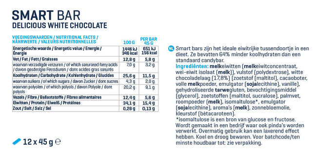 Smart Bar Nutritional Information 1