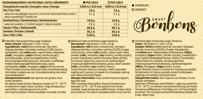 Smart Bonbons Nutritional Information 1