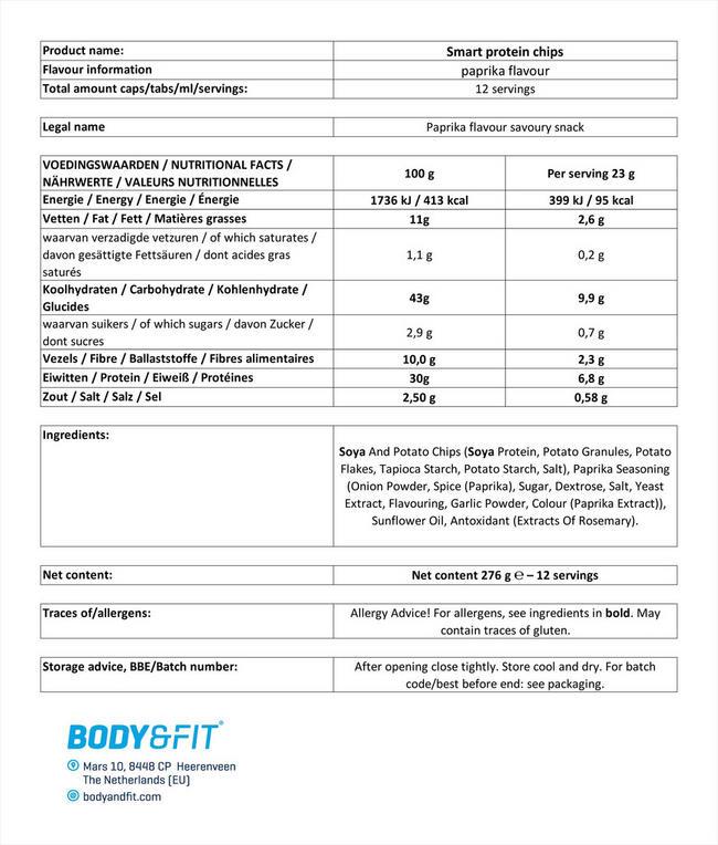 スマートプロテインチップス Nutritional Information 1