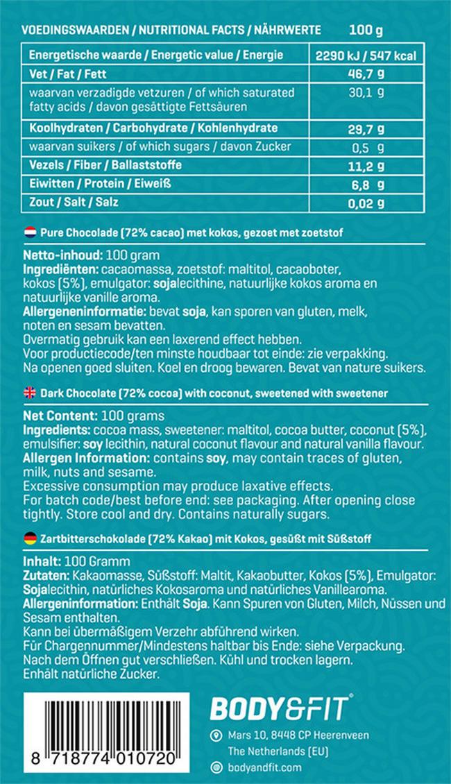 Smart Chocolate (0 Zucker & 72% Kakao) Nutritional Information 1