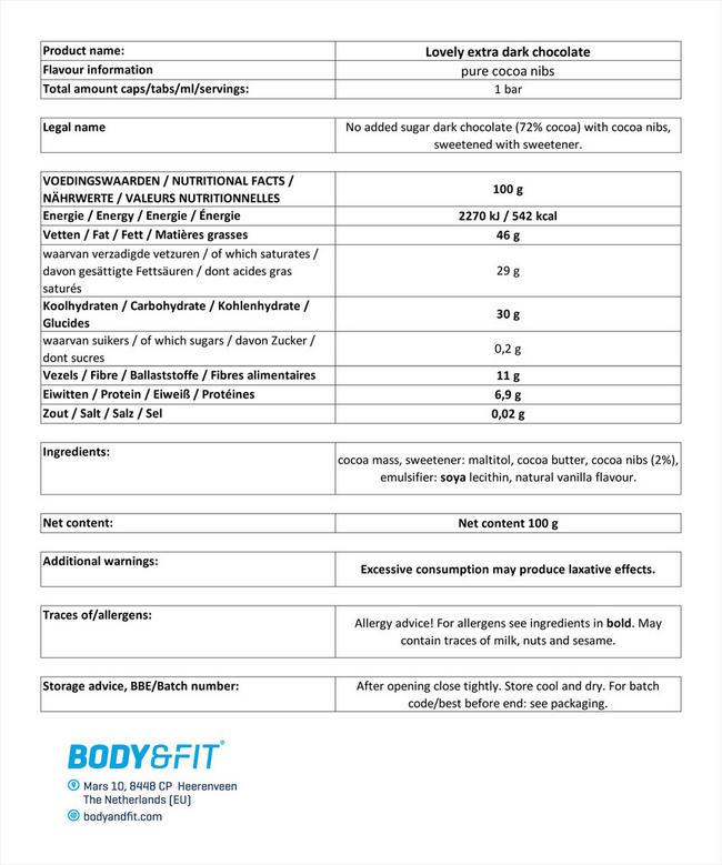 スマートチョコレート (シュガー0&カカオ72%) Nutritional Information 1