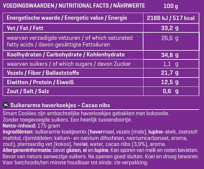 Smart Cookies Nutritional Information 2