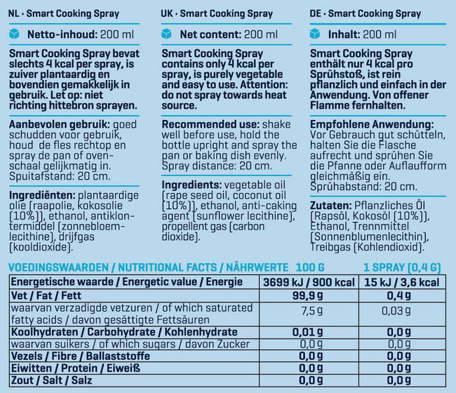 Smart Cooking Spray Nutritional Information 2
