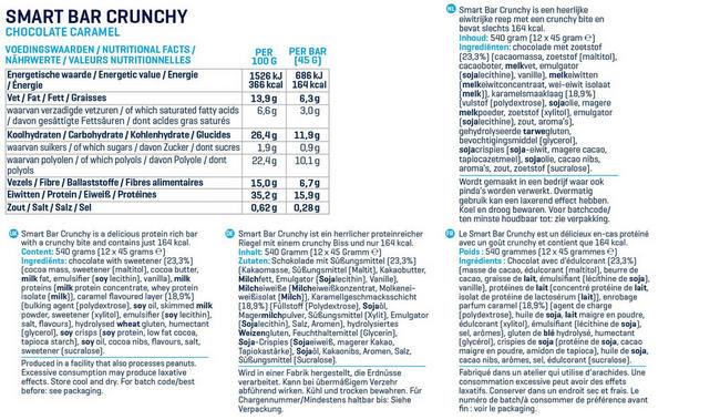 Smart Bars Crunchy Nutritional Information 1