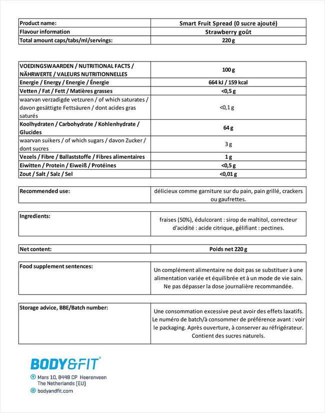 Smart Fruit Spread (0 sucre ajouté) Nutritional Information 1