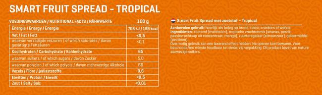 Smart Fruit Spread (0 toegevoegde suikers) Nutritional Information 1