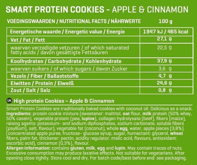 Smart Protein Cookies Nutritional Information 4