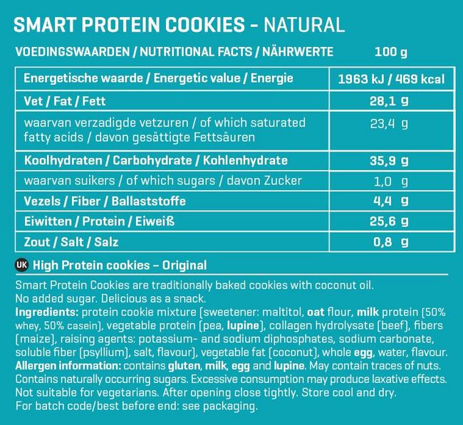Smart Protein Cookies Nutritional Information 6
