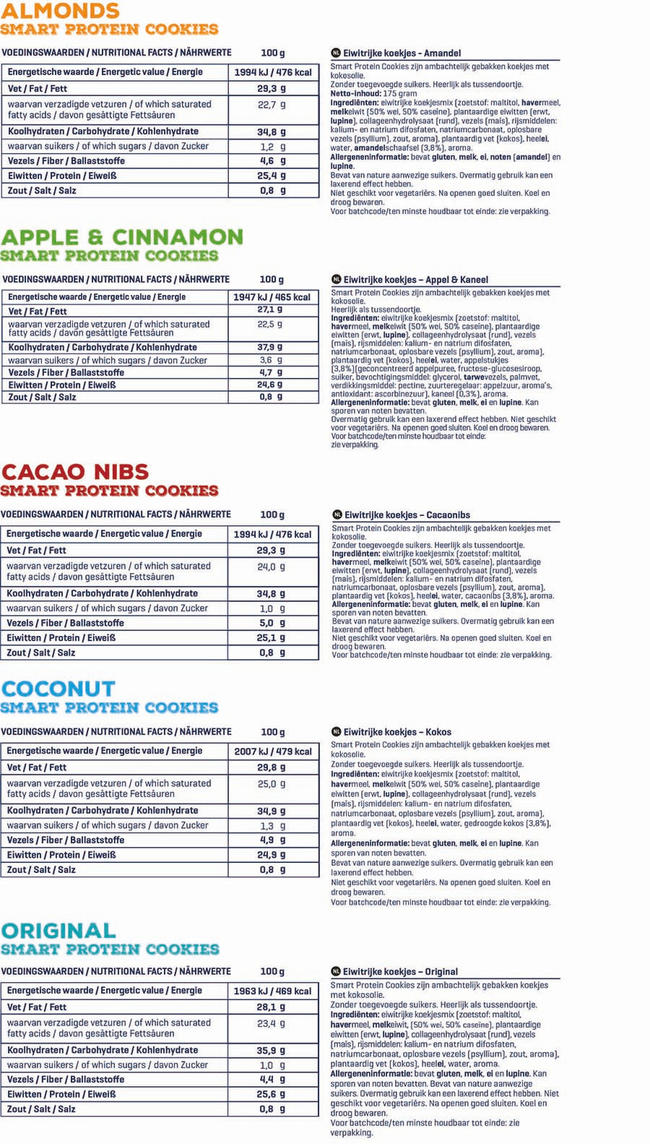 Smart Protein Cookies Nutritional Information 1