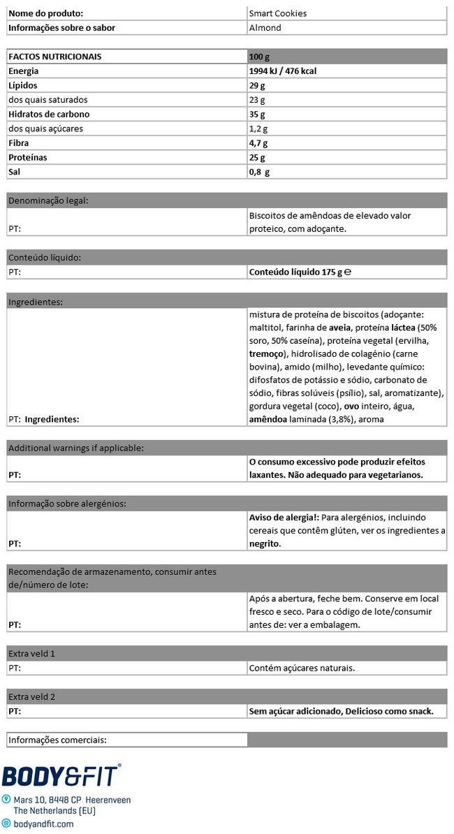 Smart Protein Cookies Nutritional Information 1