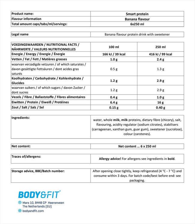 スマート プロテインドリンク Nutritional Information 1