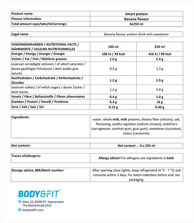 스마트 프로틴 드링크 Nutritional Information 1