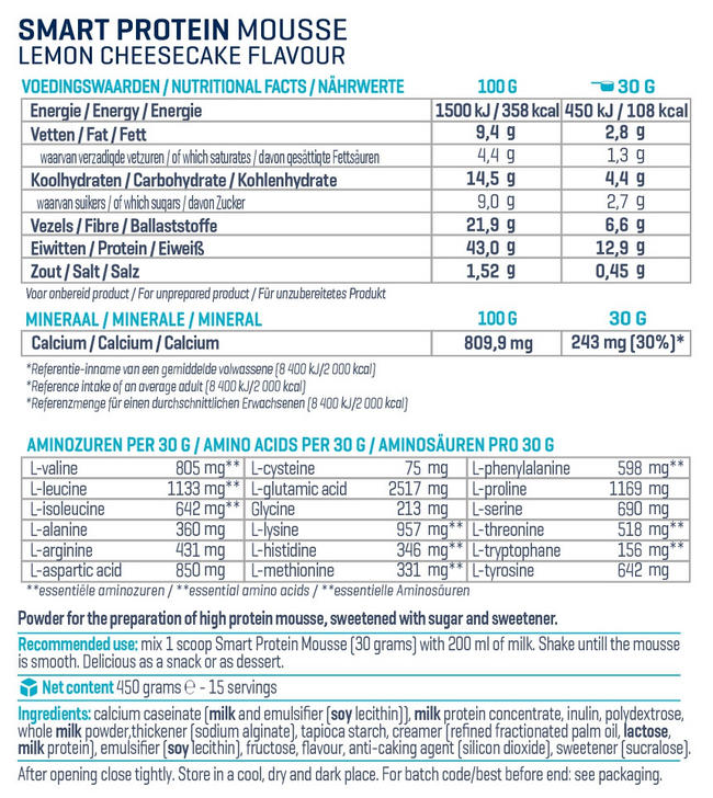 Smart Protein Mousse Nutritional Information 2