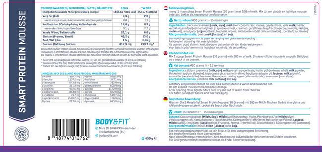 Mousse protéinée Smart Protein Mousse Nutritional Information 1