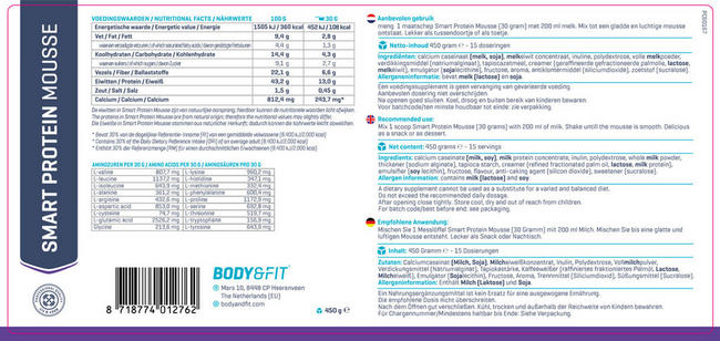 Smart Protein Mousse Nutritional Information 1