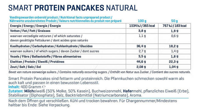 Smart Protein Pancake Mix Nutritional Information 1