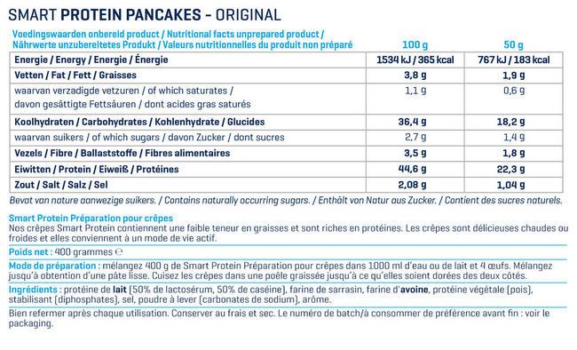 Smart Protein Préparation pour crêpes Nutritional Information 1