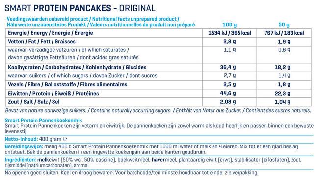 Smart Protein Pannenkoekenmix Nutritional Information 1