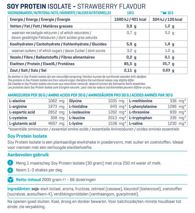 Soja Eiwit Isolaat Nutritional Information 1