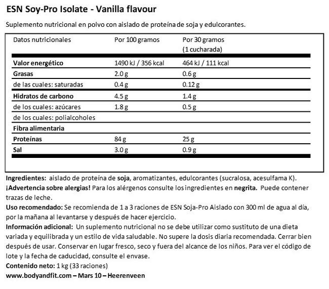 Soy Protein Isolate Nutritional Information 1