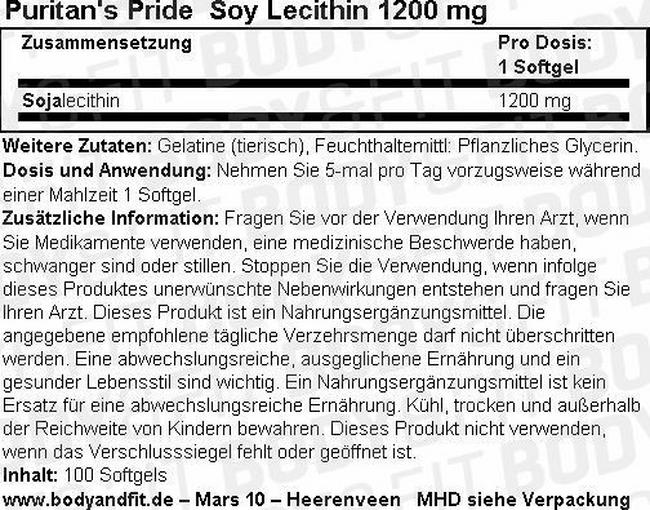 Soy Lecithin 1200 mg Nutritional Information 1