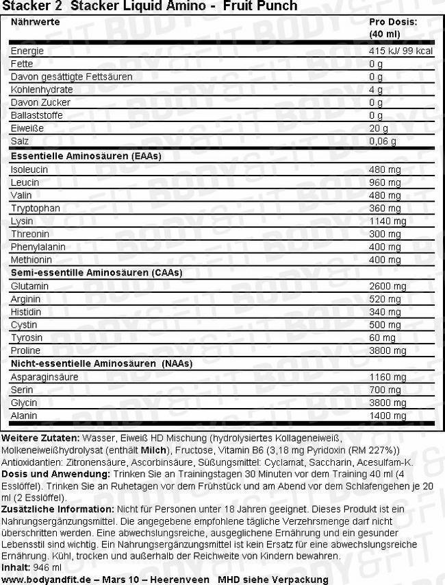 Stacker Liquid Amino Nutritional Information 1