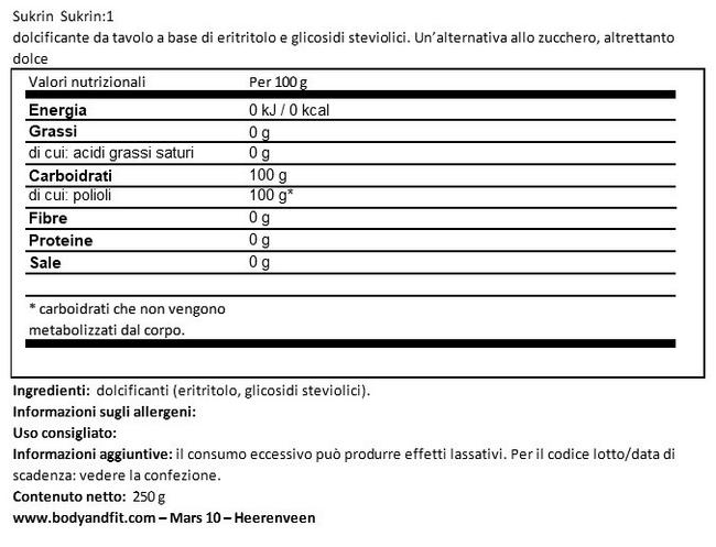 Sukrin:1 Nutritional Information 1