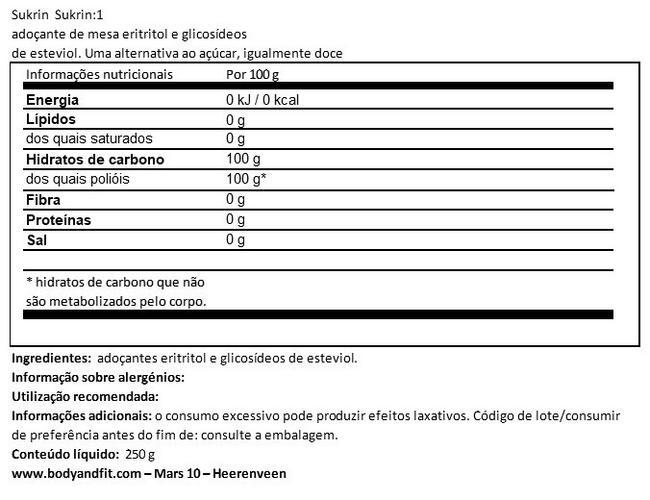 Sukrin:1 Nutritional Information 1