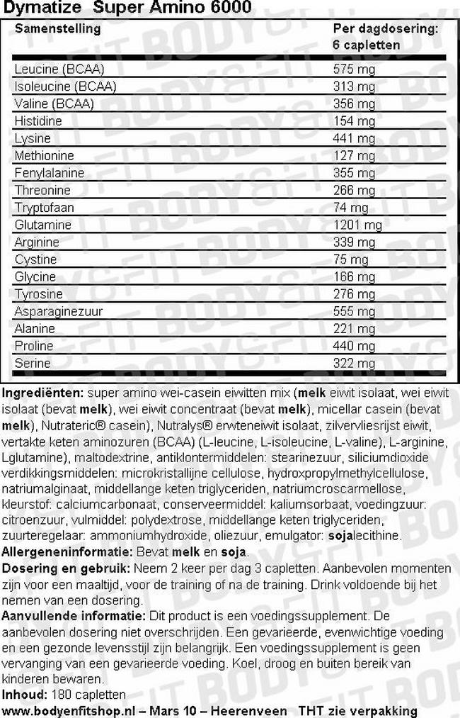 Super Amino 6000 Nutritional Information 1