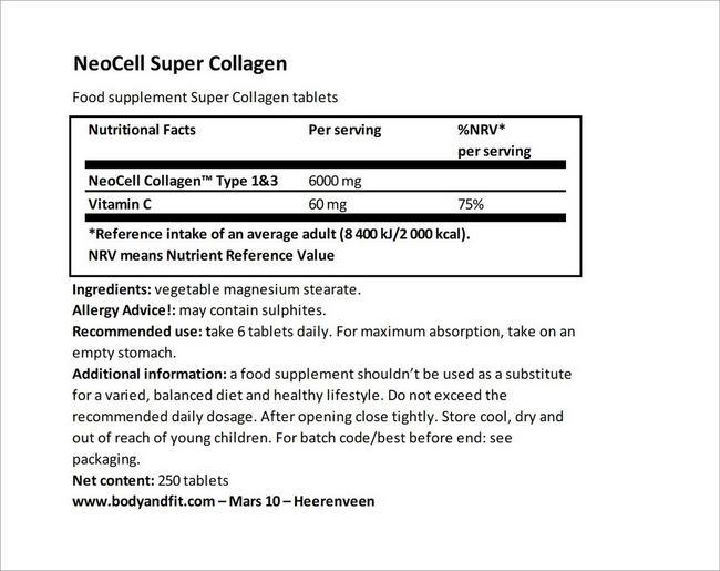 Super Collagen Nutritional Information 6