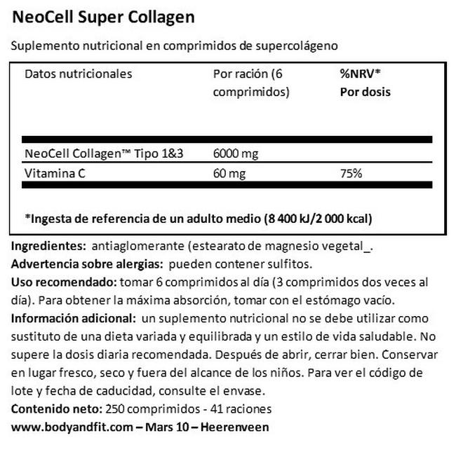 Super Collagen+C Nutritional Information 1