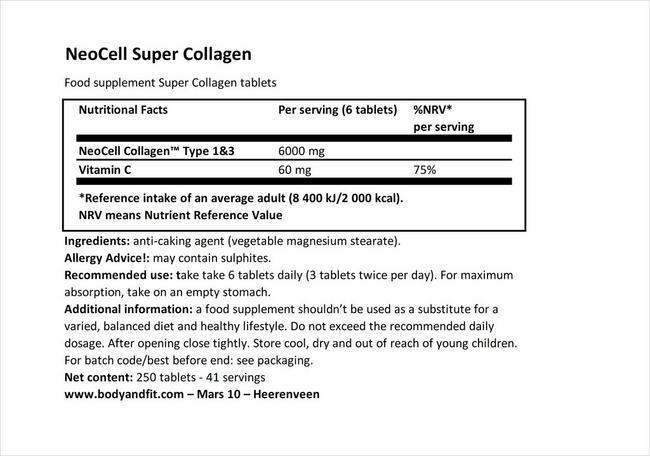 Neocell 슈퍼 콜라겐 - 250정 Nutritional Information 1