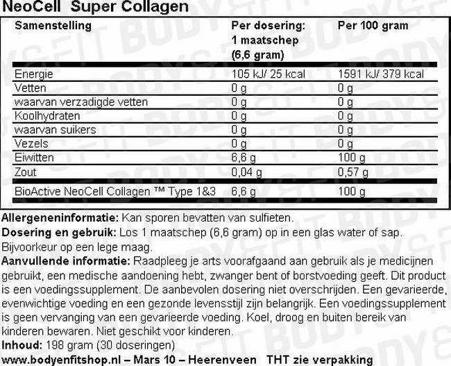 Neocell Super Collagen - 250 tabs Nutritional Information 1