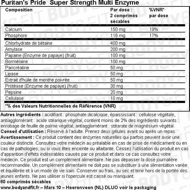 Complexe multienzymatique Super Strength Multi-Enzyme Nutritional Information 1