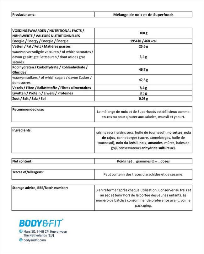Mélange de noix et de Superfoods Nutritional Information 1