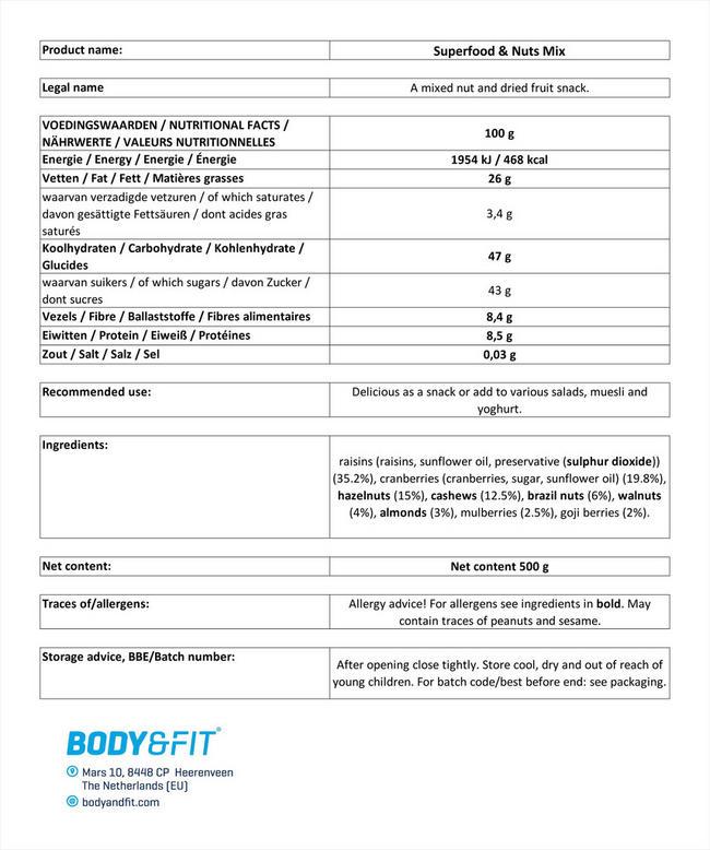 슈퍼푸드 및 견과 믹스 Nutritional Information 1