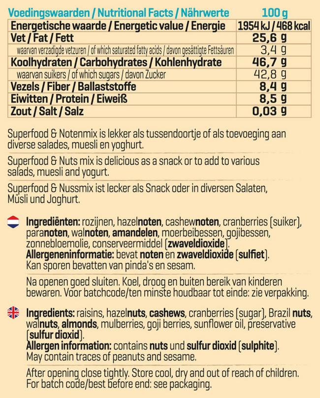 Superfood & Noten Mix Nutritional Information 1