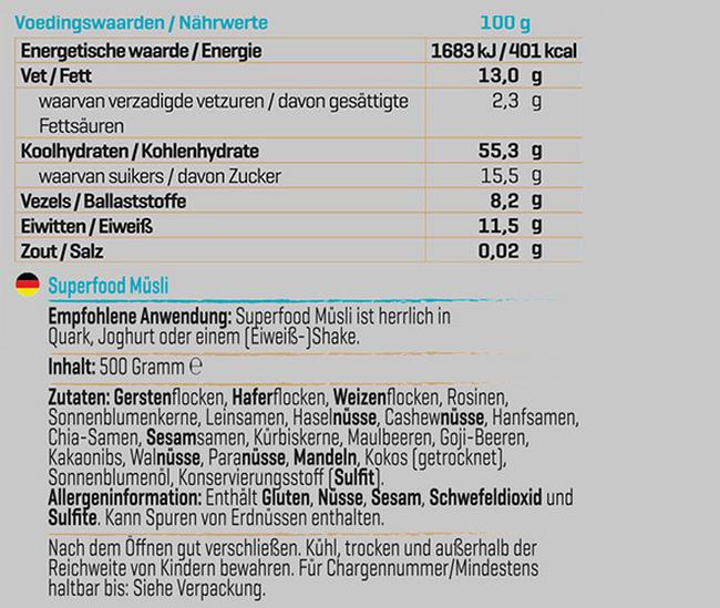 Superfood Müsli Nutritional Information 1