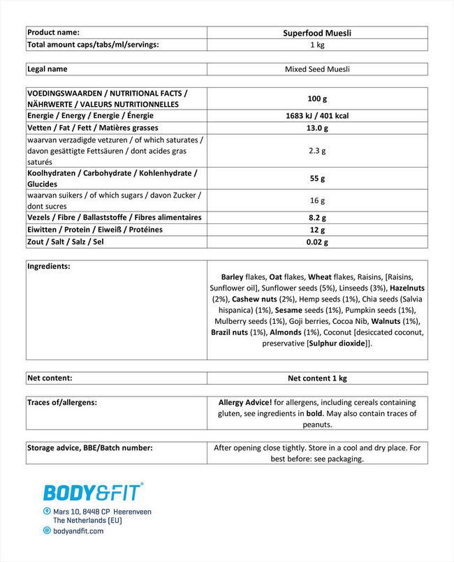 Superfood Muesli Nutritional Information 1