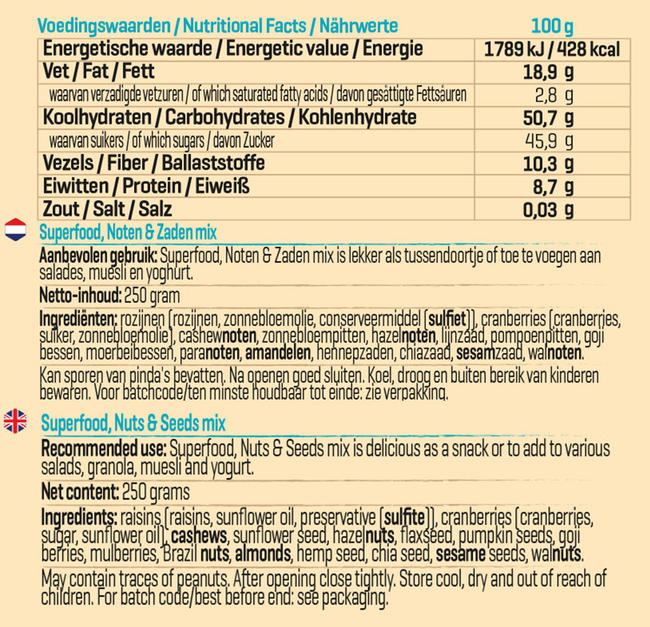 Superfood, Noten & Zaden Mix Nutritional Information 1