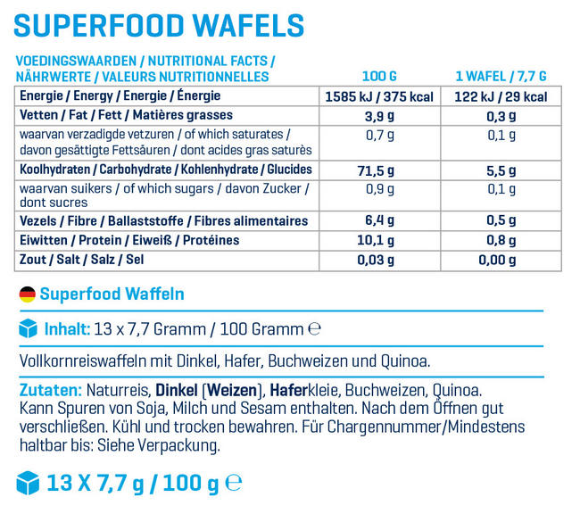 Superfood Waffeln Nutritional Information 1