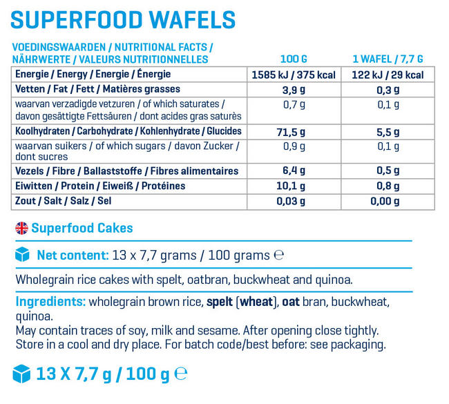 Superfood Waffles Nutritional Information 1