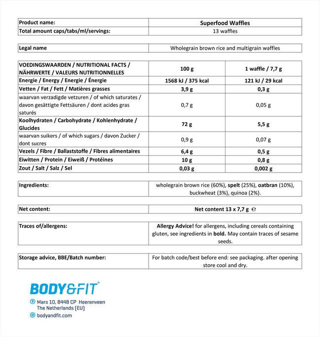 スーパーフードワッフル Nutritional Information 1