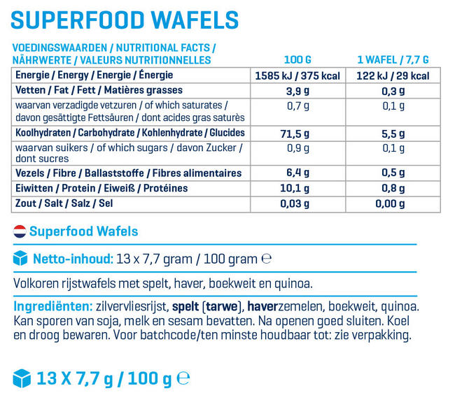 Superfood Wafels Nutritional Information 1